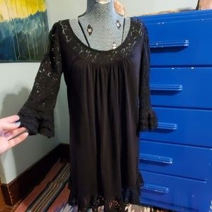 Witchy lace flare sleeve knit flowy dress